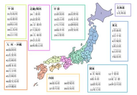 japan prefectures - kanji and furigana